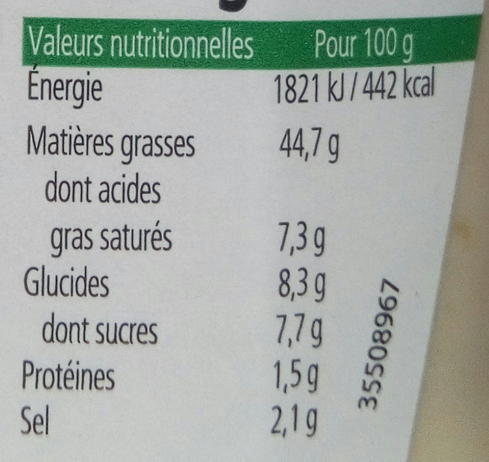 Sauce salade caesar - Nutrition facts - fr
