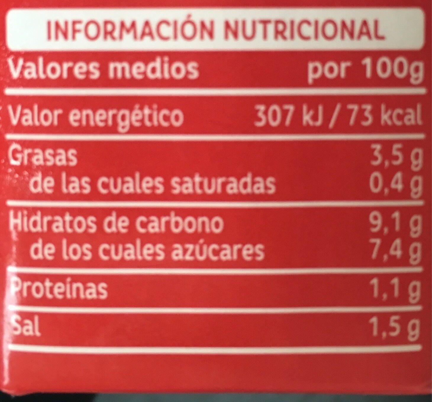 Tomate Frito Orlando - Información nutricional