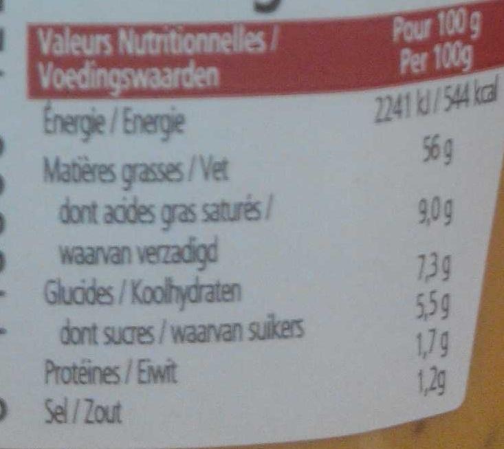 Sauce Andalouse - Voedingswaarden