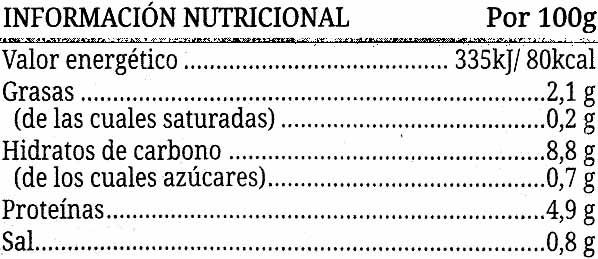 Alubias Guisadas - Informations nutritionnelles - es