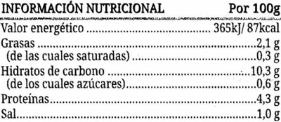 Lentejas guisadas - Información nutricional