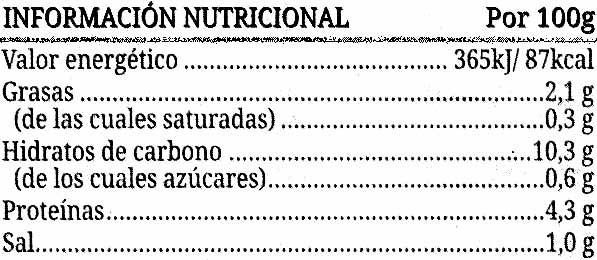 Lentejas guisadas - Informations nutritionnelles - es