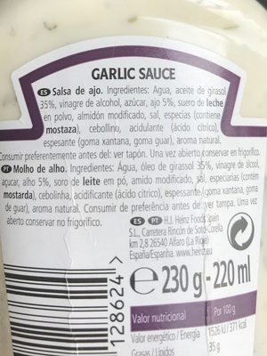 Garlic sauce - Ingredientes - fr