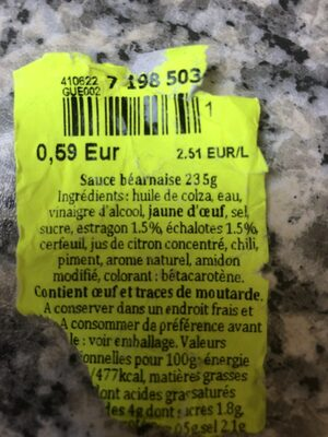 Salsa Bearnesa - Ingrédients