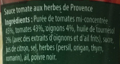 Heinz sacrément bon provencale - Ingrédients