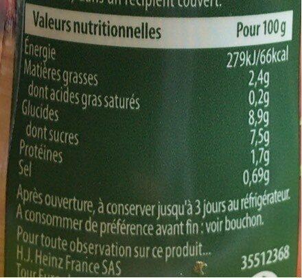 Heinz sacrément bon provencale - Informations nutritionnelles - fr