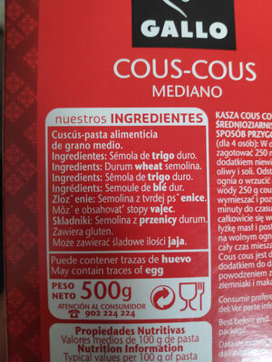 Cous cous - Ingredientes - es
