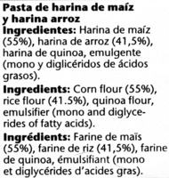 Plumas sin gluten - Ingrediënten - es
