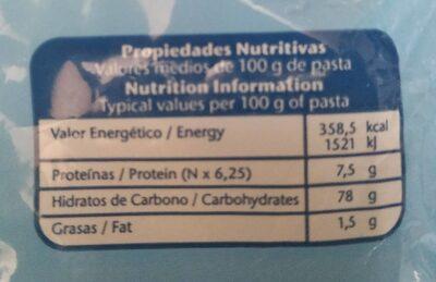Plumas sin gluten - Voedingswaarden - es