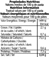 Plumas sin gluten - Informació nutricional
