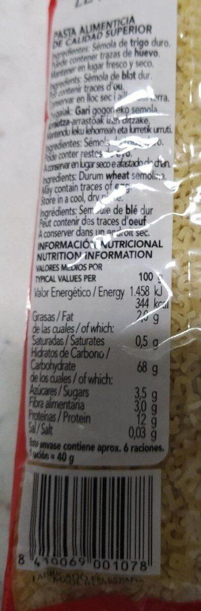 Sopa de letras - Nutrition facts - es