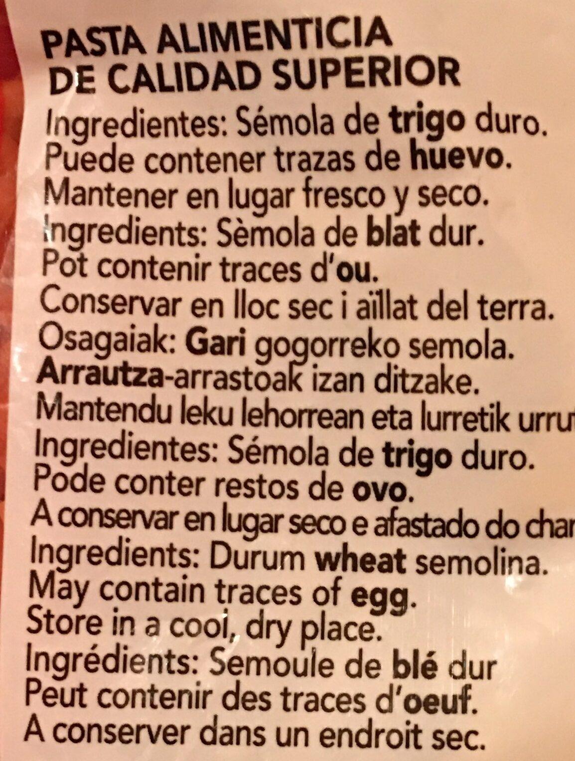 Pasta Gallo Fideus Perla - Ingredientes - fr