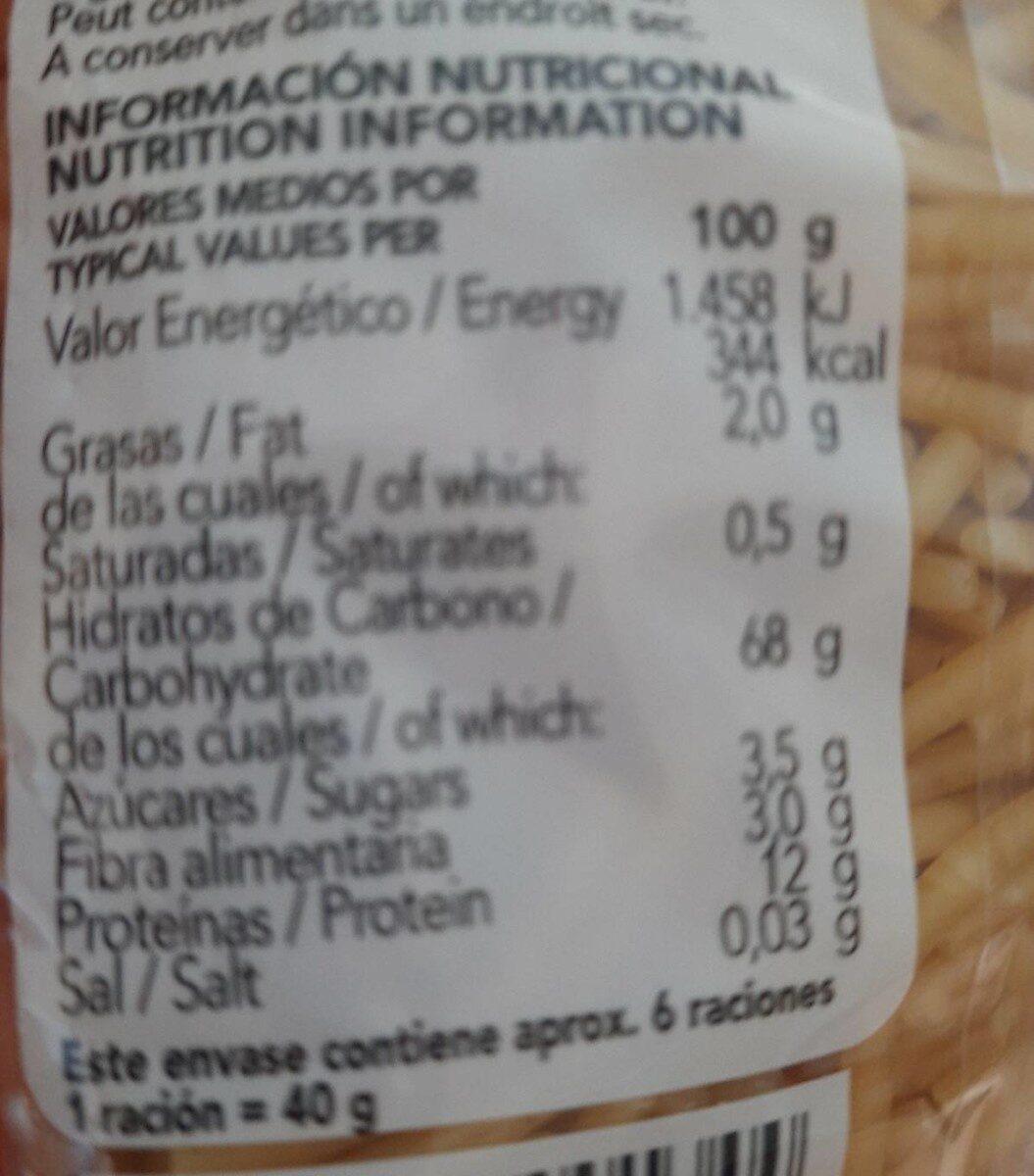 Pasta Gallo Fideus Perla - Información nutricional - fr