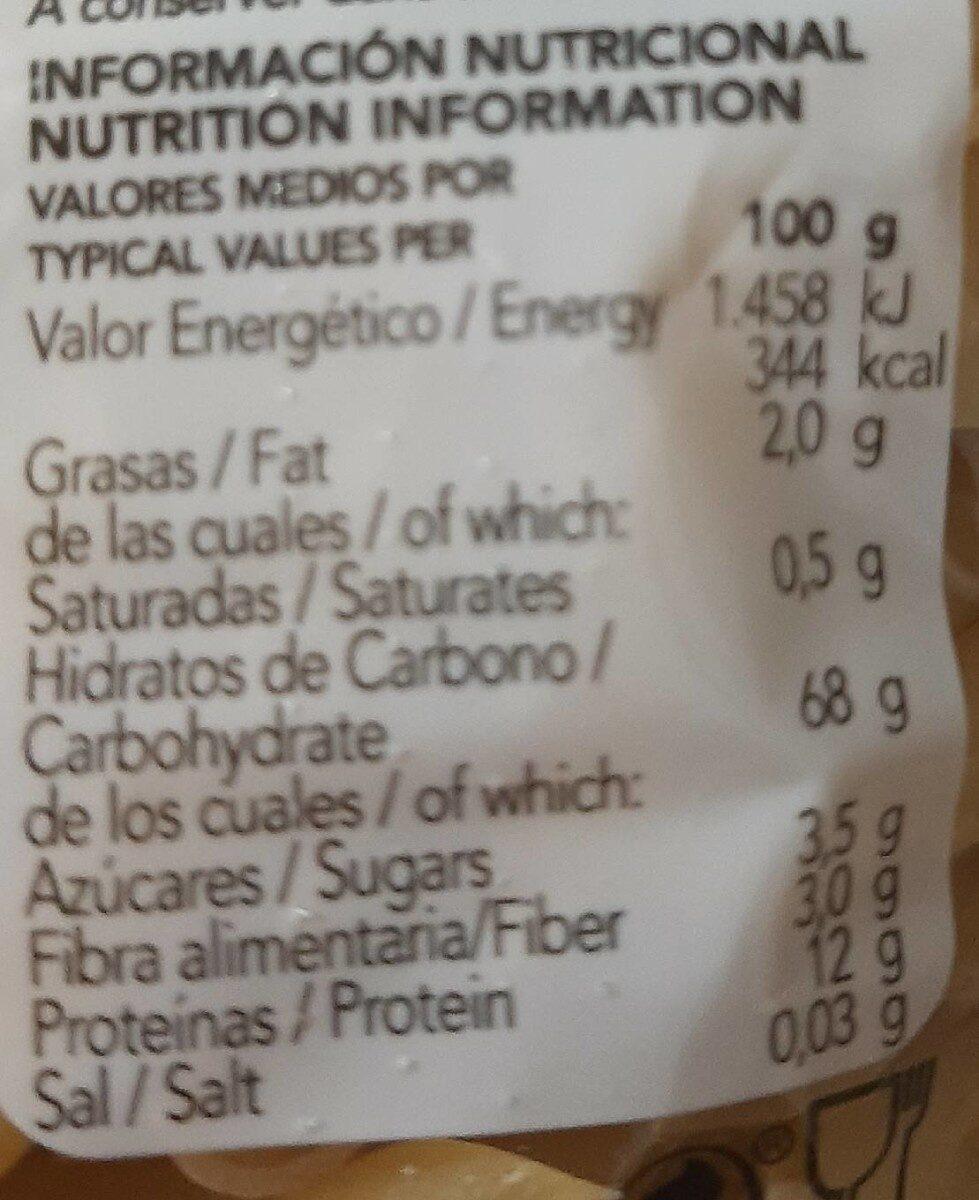 Pasta Alimenticia De Calidad Superior - Información nutricional - es