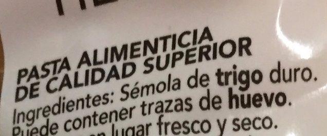 MACARRONES HÉLICES - Ingredientes - es