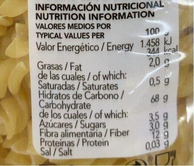 MACARRONES HÉLICES - Información nutricional - es