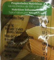 Plumas con vegetales - Información nutricional - es