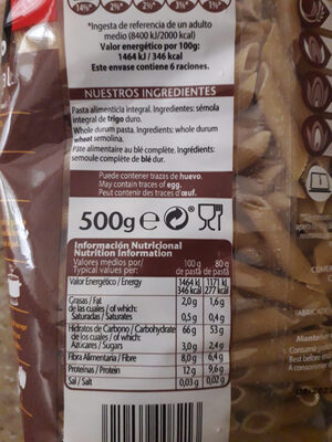 Pasta Plumas Rayadas Integral Gallo - Ingredientes - es
