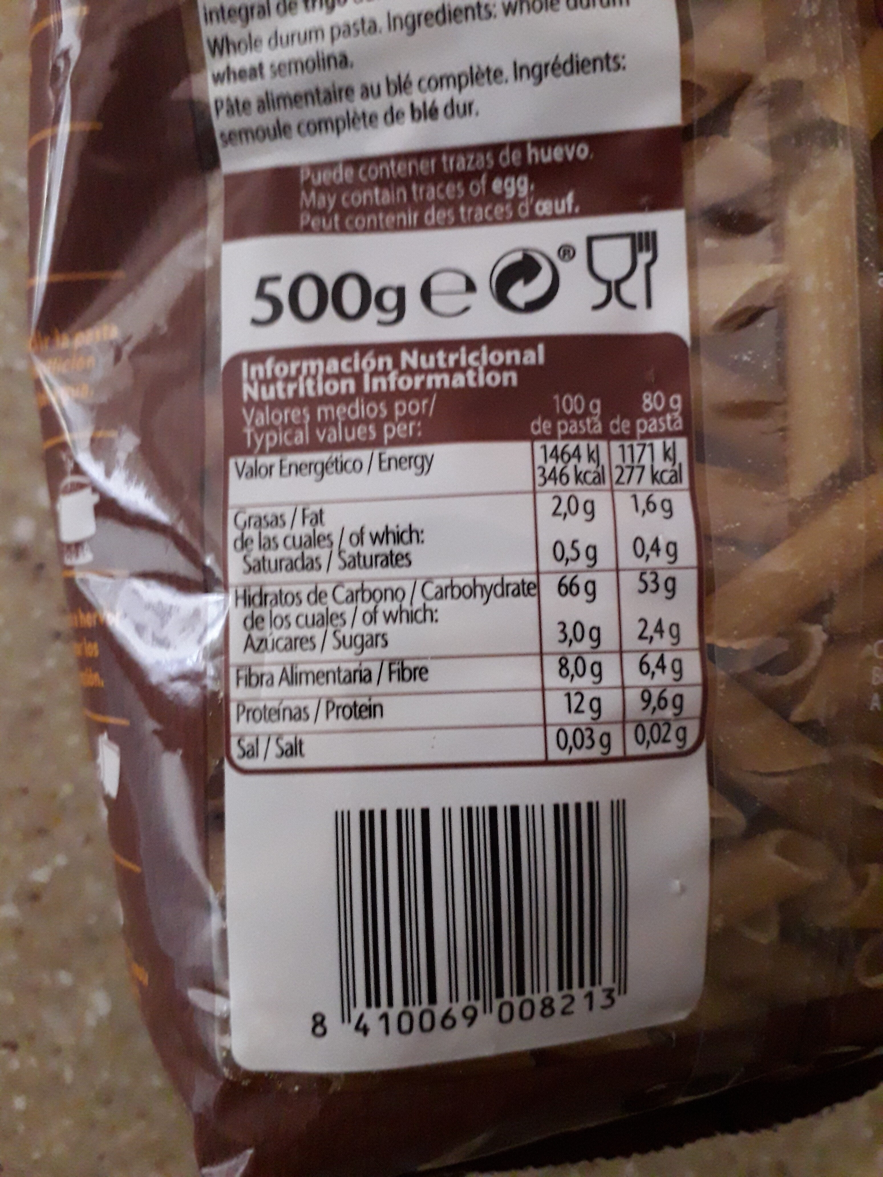 Pasta Plumas Rayadas Integral Gallo - Información nutricional - es