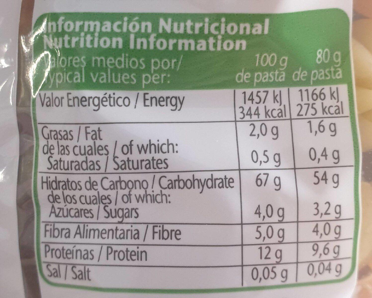 Gallo Pasta Ideal Amanides Tulipes Amb Vegetals (pack 2X500G) - Información nutricional - es