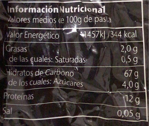Pasta Fettuccine Con Espinacas 500 GRS - Informations nutritionnelles - es