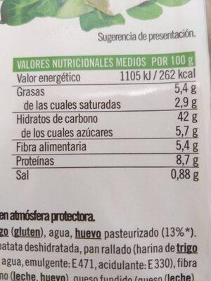 Media Luna Requeson y espinacas - Información nutricional