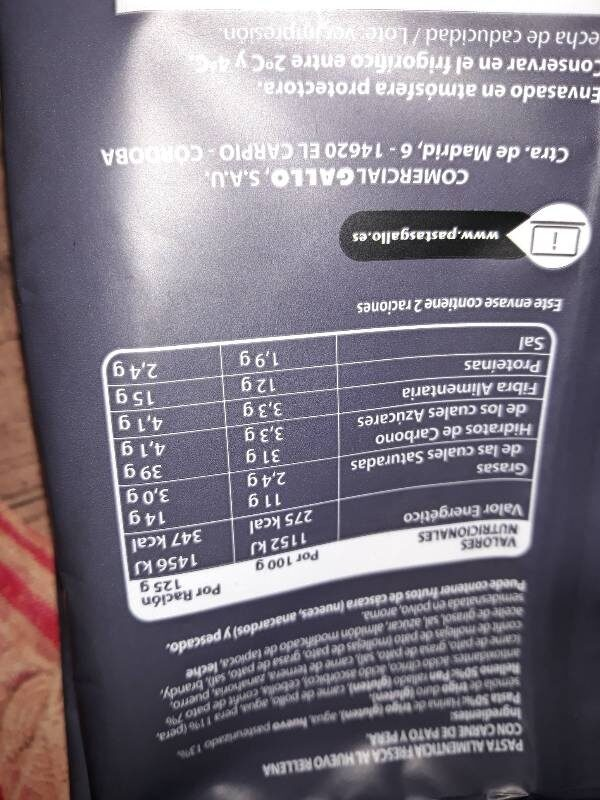 Triangulos confit de pato - Informations nutritionnelles - es