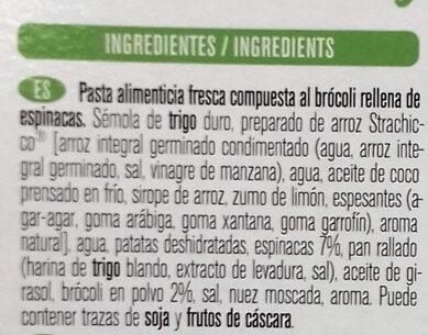 Vegan - Tortelloni de brócoli con relleno cremoso de espinacas - Ingredientes