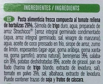 Vegan - Tortelloni de tomate bio - Ingredientes - es