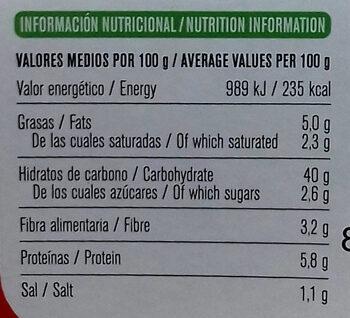 Vegan - Tortelloni de tomate bio - Información nutricional - es