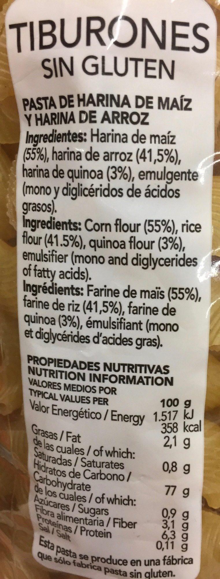 Tiburones sin gluten con quinoa - Información nutricional - es