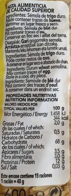 Gallo Fideo Nº2 - Informació nutricional