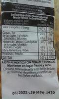 Pasta fina hélices con tomate y espinacas - Información nutricional