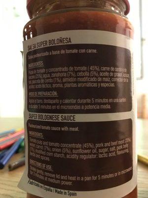 Super Boloñesa (Bolognese) - Ingredientes