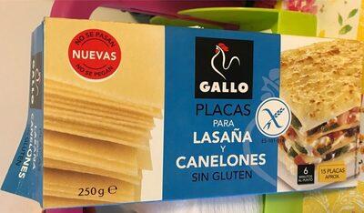 Placas para lasaña y canelones sin gluten