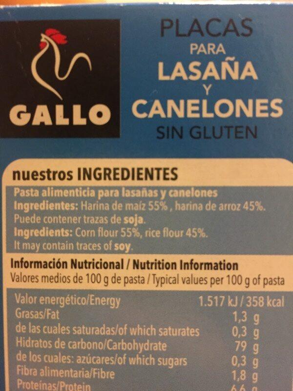 Placas para lasaña y canelones sin gluten - Ingredientes