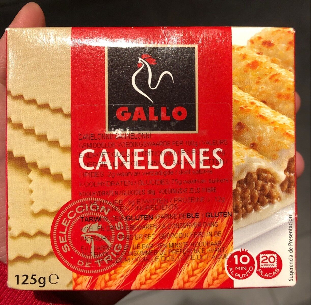 Canelones Gallo 20 Placas 125G - Produit