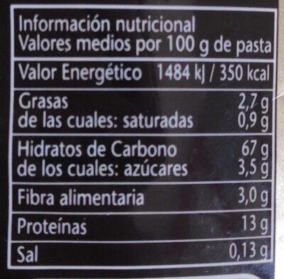 Fideo N°0 al Huevo - Nutrition facts