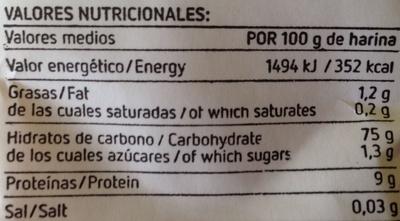 Harina de trigo - Información nutricional