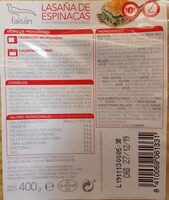 Lasaña de espinacas - Nutrition facts - es