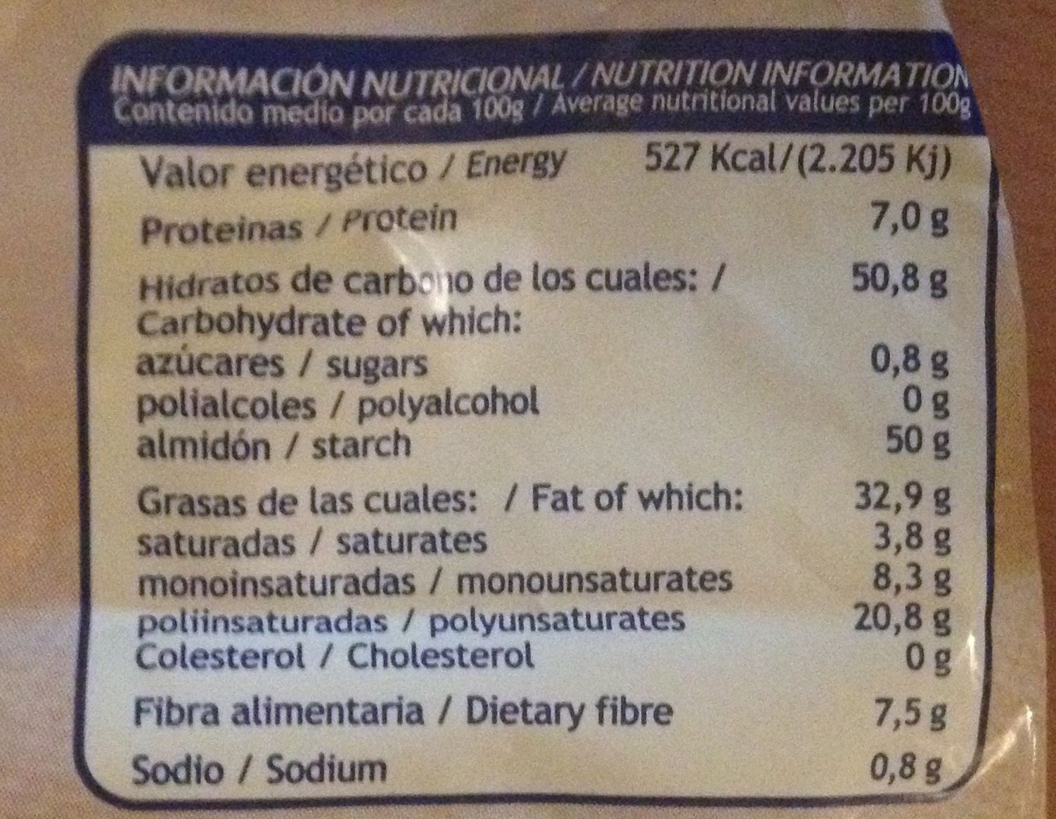 Patatas Artesanales Jamón - Nutrition facts