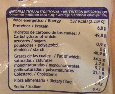 Patatas Artesanales Ajo y Perejil - Informació nutricional