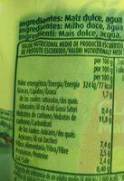 Maíz dulce latas - Informations nutritionnelles - es