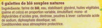 6 wraps de blé nature - Ingrédients - fr