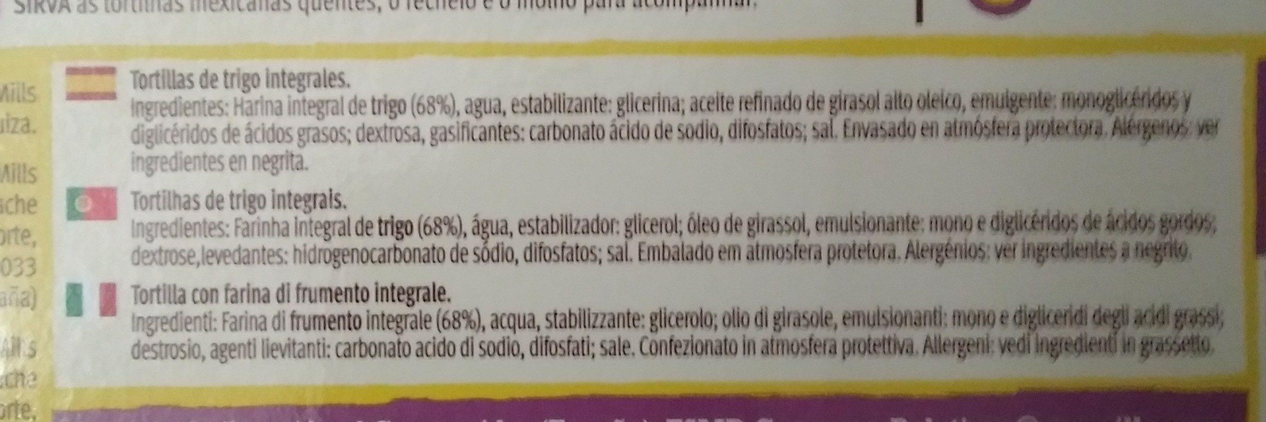 Tortillas wrap extra tiernas de trigo integral - Ingrédients