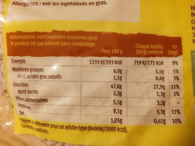 Wraps - Galette au blé complet - Información nutricional