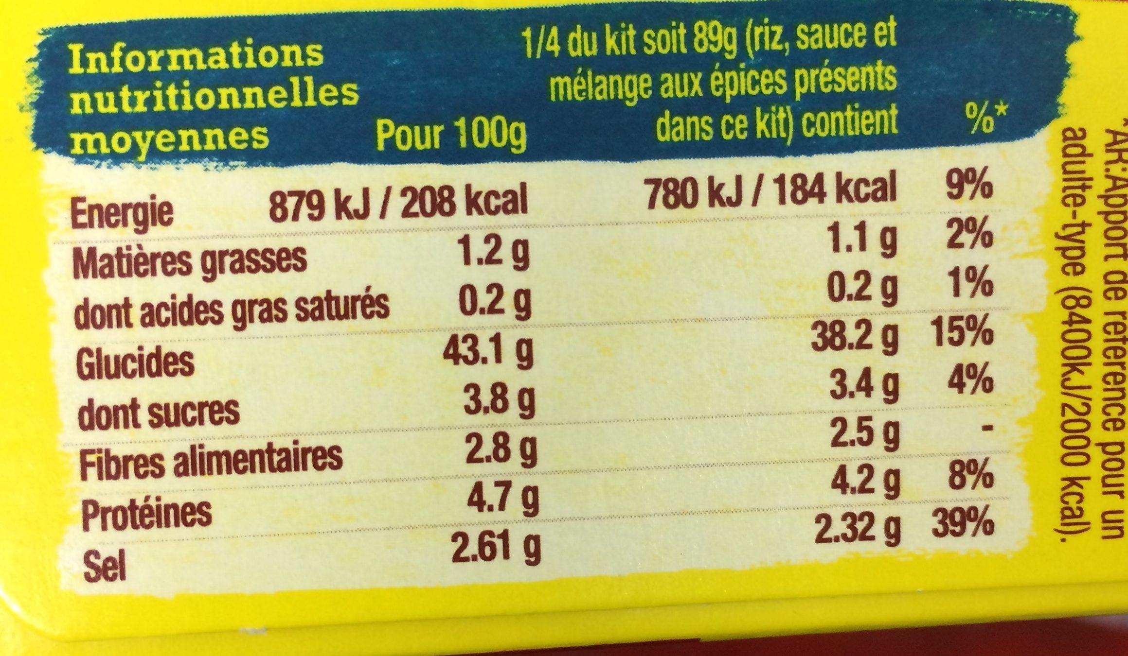 Kit pour poelee d'Oaxaca au chili et a l'ail OLD EL PASO - Ingrediënten - fr