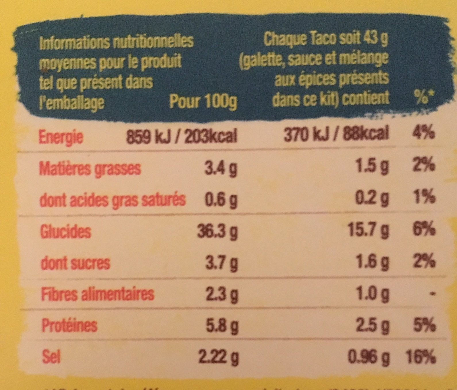 BARQUITAS Kit pour tacos - Nutrition facts
