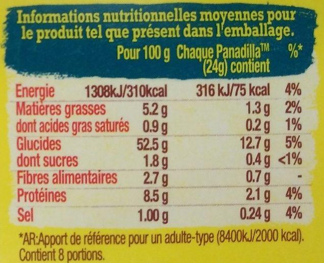 8 Barquitas au blé nature - Informations nutritionnelles