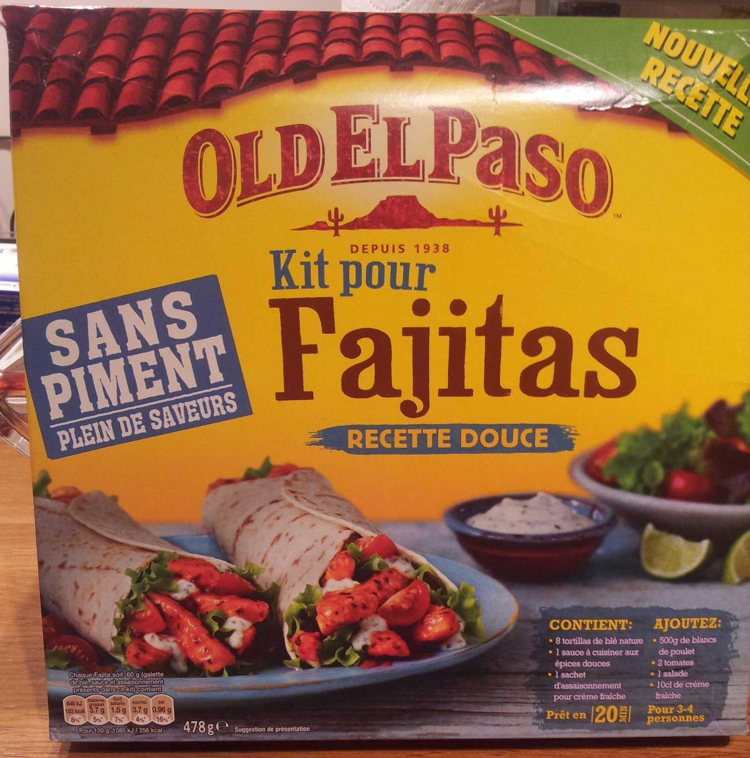 kit pour fajitas recette douce old el paso 478 g e. Black Bedroom Furniture Sets. Home Design Ideas